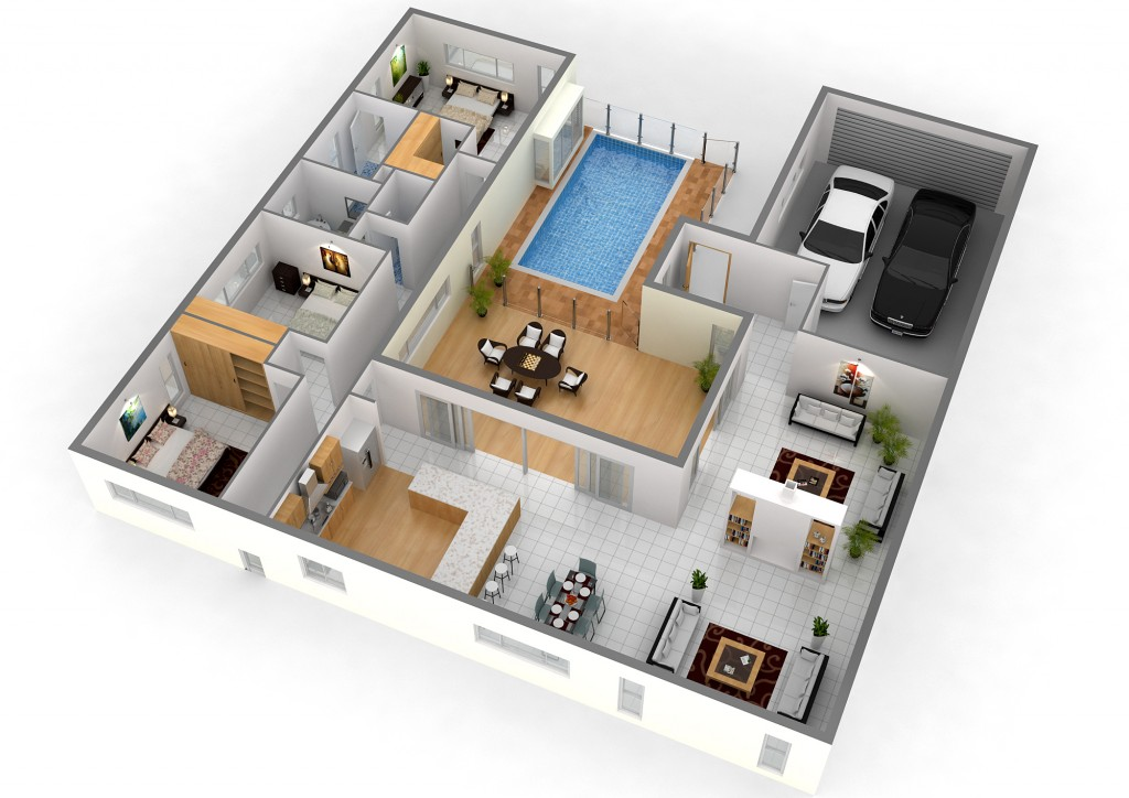 3d floor planner for modern house with swimming